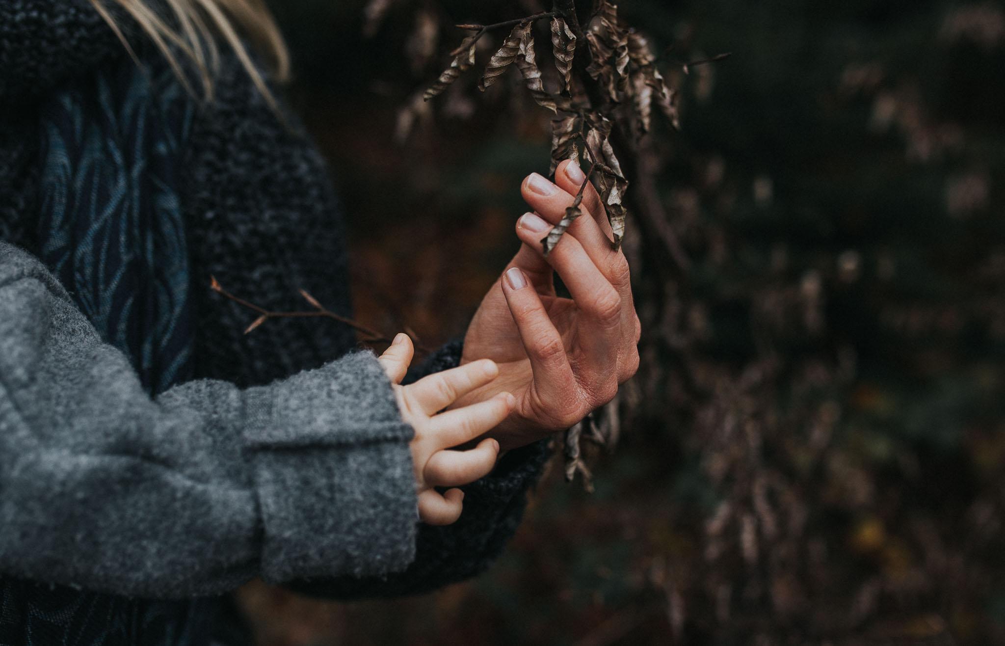 die Hände einer Mutter und die Hände eines Kindes