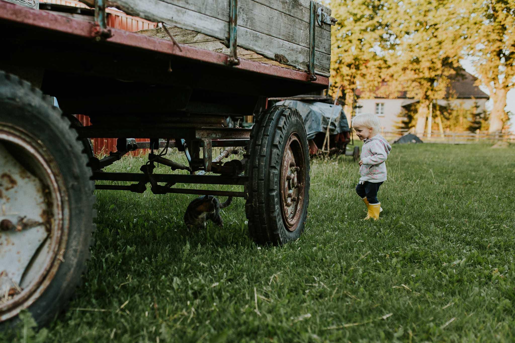 Kind ist auf dem Bauernhof auf Katzenjagd